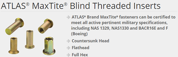 Atlas Fasteners - Threaded Inserts - Enfasco com